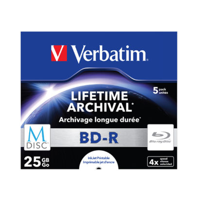 Verbatim M-Disc Lifetime Archival BD-R 25GB 4x Full Face Printable Jewel Case 10mm - 43823