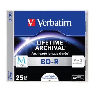 Verbatim M-Disc Lifetime Archival BD-R 25GB 4x Full Face Printable Jewel Case 10mm - 43822