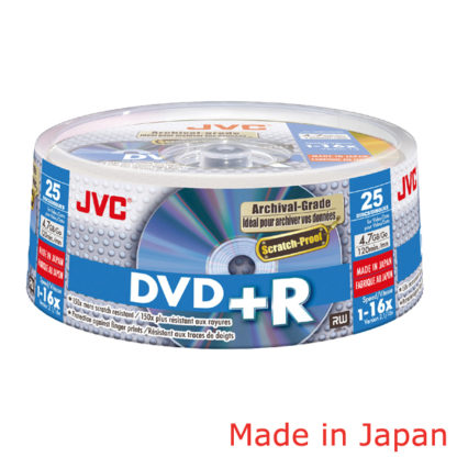 Taiyo Yuden/JVC Archival ScratchProof DVD+R 4.7GB 16x Gold Cakebox 25 Japan Made