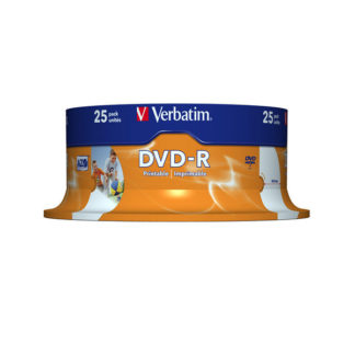 Verbatim DVD-R 4.7GB 16x Full Face Printable Cakebox 25 - 43538