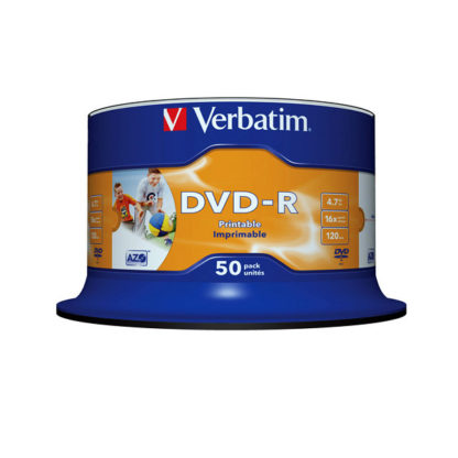 Verbatim DVD-R 4.7GB 16x Full Face Printable Cakebox 50 - 43533