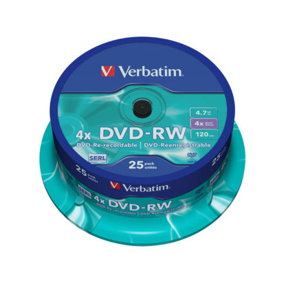 Verbatim DVD-RW 4.7GB 4x Cakebox 25 – 43639