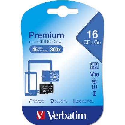 Verbatim Premium microSDHC 16GB Class 10/UHS-I - 44010