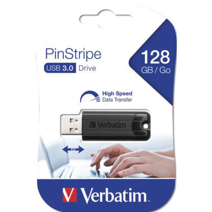 Verbatim PinStripe USB 3.0 Drive 128GB | Black - 49319