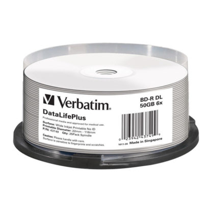 Verbatim BD-R DL 50GB 6x Full Face Printable Cakebox 25 - 43749