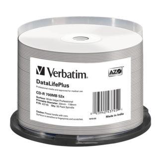 Verbatim AZO CD-R 700MB 52x Full Face Printable Cakebox 50 – 43745
