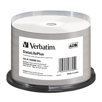 Verbatim AZO CD-R 700MB 52x Full Face Printable Cakebox 50 – 43745