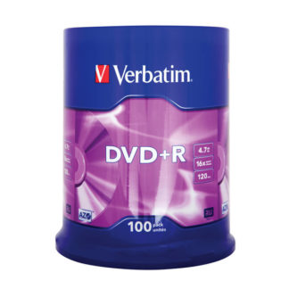 Verbatim DVD+R 4.7GB 16x Silver Mat Cakebox 100 - 43551