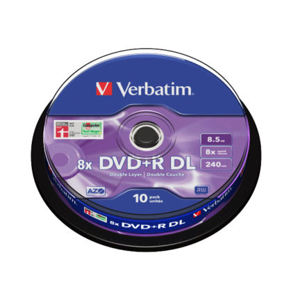 Verbatim DVD+R DL 8.5GB 8x Silver Mat Cakebox 10 - 43666