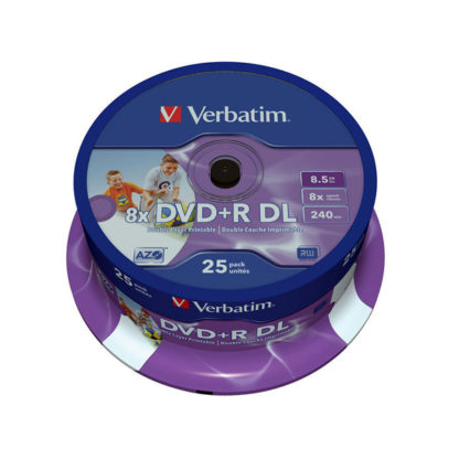 Verbatim DVD+R DL 8.5GB 8x Full Face Printable Cakebox 25 - 43667