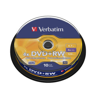 Verbatim DVD+RW 4.7GB 4x Cakebox 10 - 43488