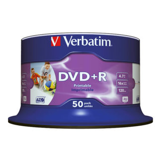 Verbatim DVD+R 4.7GB 16x Full Face Printable Cakebox 50 - 43512