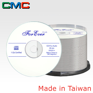 ForEver Plus CD-R Audio 80min 32x White Cakebox 50 Taiwan Made by CMC Magnetics