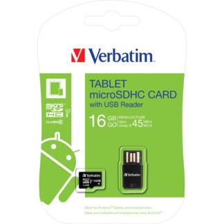 Verbatim Tablet microSDHC with USB Card Reader 16GB Class 10/UHS-I - 44058