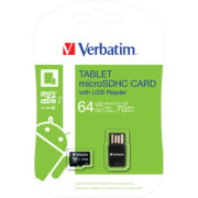 Verbatim Tablet microSDXC with USB Card Reader 64GB Class 10/UHS-I - 44060