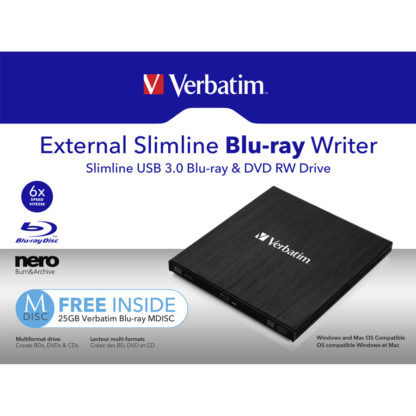 Verbatim External Slimline USB 3.0 Blu-ray Writer | 43890