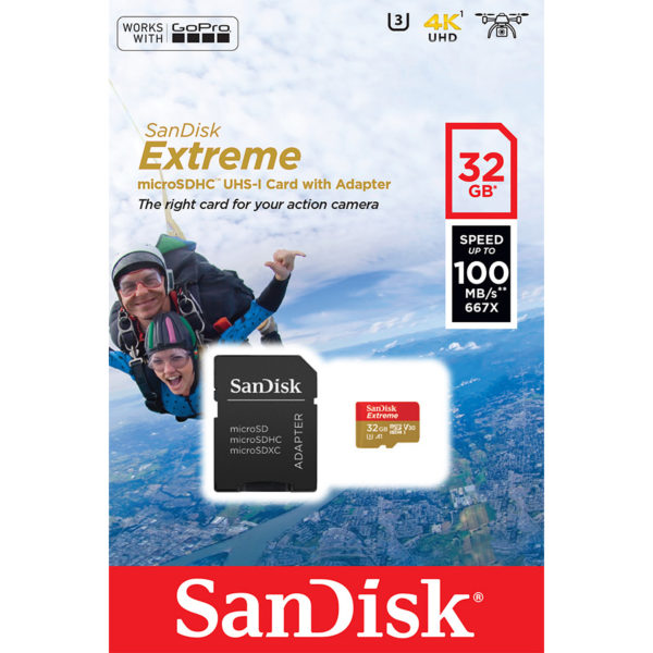 SanDisk Extreme microSDHC with adapter 32GB V30 A1 for Action Cameras | SDSQXAF-032G-GN6AA
