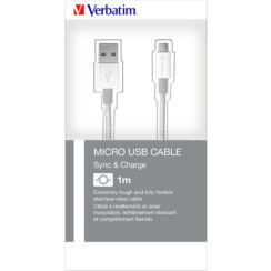 Verbatim Micro USB Cable Sync & Charge 100cm Silver | 48862