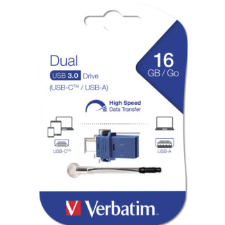 Verbatim Dual (Type-C) USB 3.0 Drive 16GB | Black – 49965