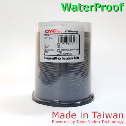 CMC Pro DVD-R 4.7GB 16x WaterProof Full Face Printable Cakebox 100 Taiwan Made Powered by Taiyo Yuden Technology