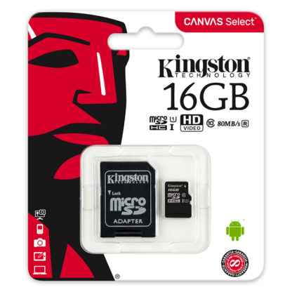 Kingston Canvas Select microSDHC with adapter 16GB Class 10/UHS-I   SDCS/16GB