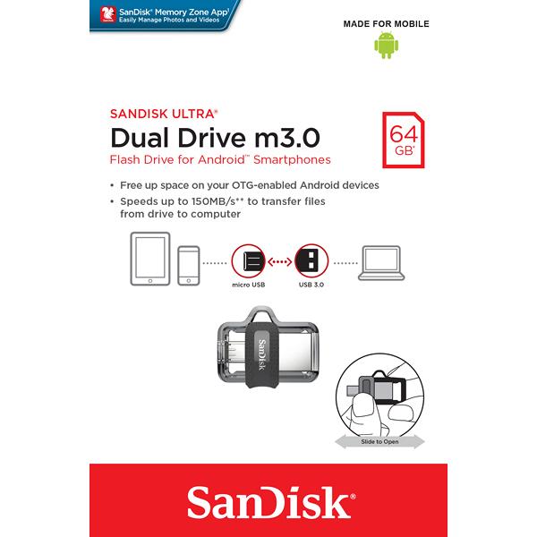 SanDisk Ultra Dual m3.0 (OTG) USB 3.0 Drive 64GB | SDDD3-064G-G46