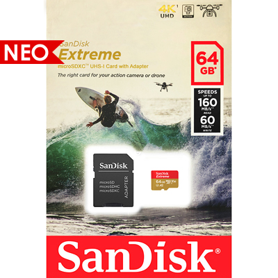 SanDisk Extreme microSDXC with adapter 64GB V30 A2 for Action Cameras | SDSQXA2-064G-GN6AA
