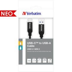 Verbatim USB-C σε USB-A Καλώδιο Sync & Charge 100cm Μαύρο | 48871