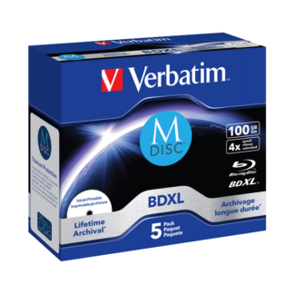 Verbatim M-Disc Lifetime Archival BDXL 100GB 4x Full Face Printable Jewel Case 10mm - 43834