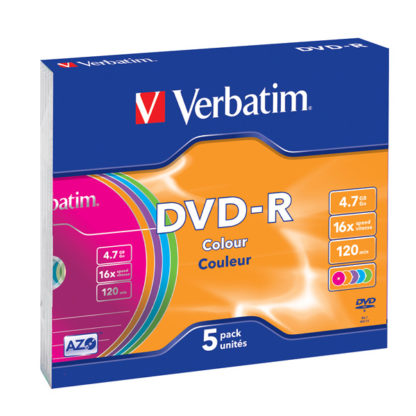 Verbatim Colour DVD-R 4.7GB 16x Slim Case 5mm – 43557