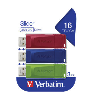 Verbatim Slider USB Drive 16GB PK3 | Blue/Red/Green - 49326