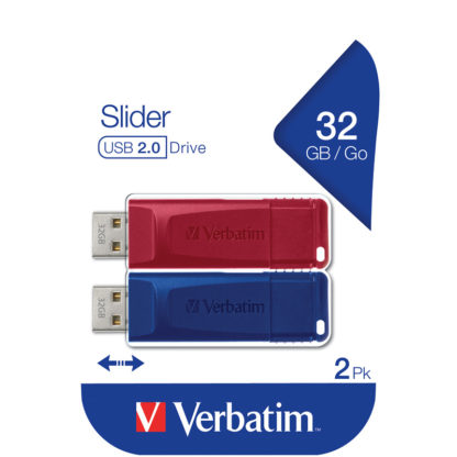 Verbatim Slider USB Drive 32GB PK2 | Blue/Red - 49327
