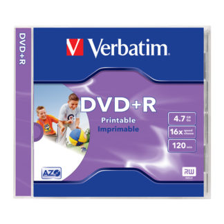 Verbatim DVD+R 4.7GB 16x Full Face Printable Jewel Case 10mm – 43507