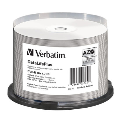 Verbatim DataLifePlus DVD-R 4.7GB 16x Full Face Printable Cakebox 50 - 43744