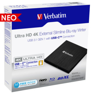 Verbatim Ultra HD 4K External Slimline USB 3.1 Blu-ray Writer | 43888