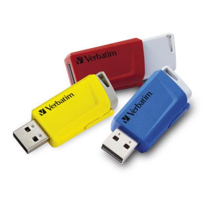Verbatim Store'n'Click USB 3.0 Drive Red/Blue/Yellow