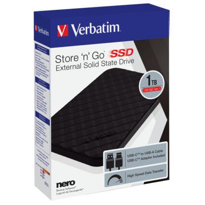 Verbatim Store'n'Go USB 3.2 Εξωτερικός Σκληρός Δίσκος SSD 1TB Μαύρο | 53230