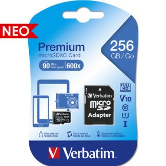 Verbatim Premium microSDXC with adapter 256GB Class 10/UHS-I - 44087