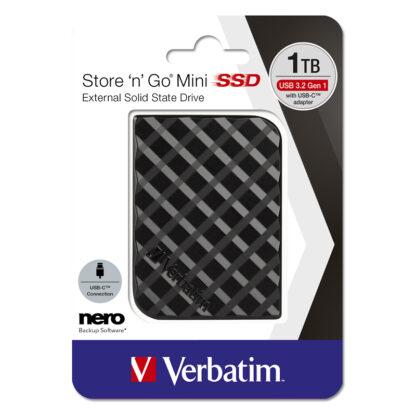 Verbatim Store'n'Go Mini USB 3.2 Εξωτερικός Σκληρός Δίσκος SSD 1TB Μαύρο | 53237