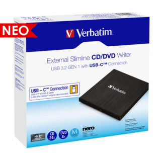 Verbatim External Slimline USB 3.2 Gen 1 CD/DVD Writer | 43886