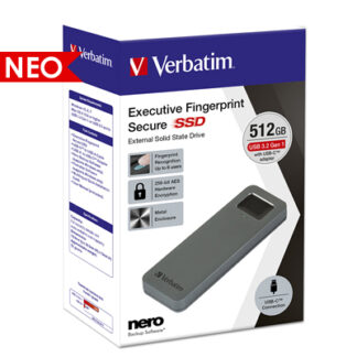 Verbatim Executive Fingerprint Secure USB 3.2 Εξωτερικός Σκληρός Δίσκος SSD 512GB | 53656